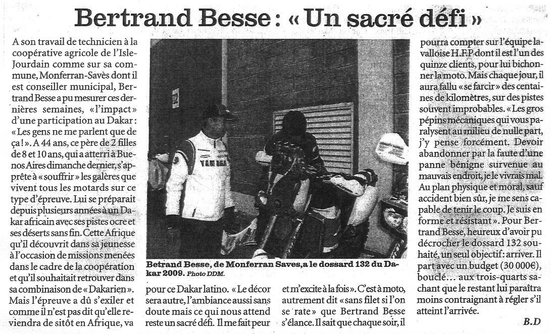 La Dépêche du Midi - 3 Janvier 2009